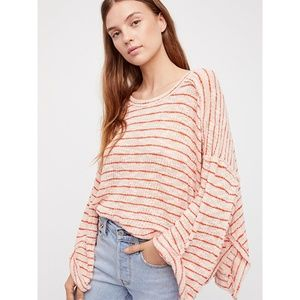 🆕Free People Oversized Red Stripe Sweater